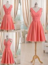 Short/Mini Watermelon Chiffon Pleats V-neck Affordable Bridesmaid Dress #PDS01012511