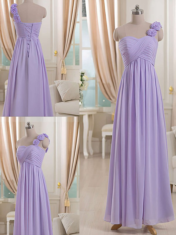 One Shoulder Coolest Lilac Chiffon with Flower(s) Lace-up Empire Bridesmaid Dresses #PDS01012512
