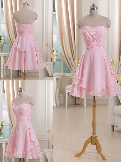 Sweetheart Short/Mini Pink Chiffon Ruffles Boutique Bridesmaid Dresses #PDS01012513
