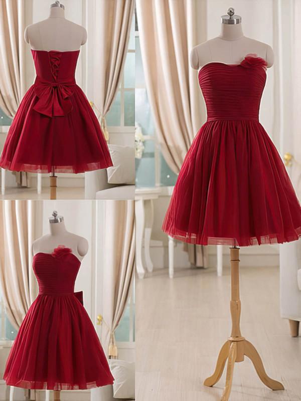 Short/Mini Beautiful Burgundy Tulle Flower(s) Strapless Bridesmaid Dresses #PDS01012514