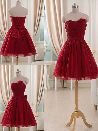 Short/Mini Beautiful Burgundy Tulle Flower(s) Strapless Bridesmaid Dresses #PDS01012514