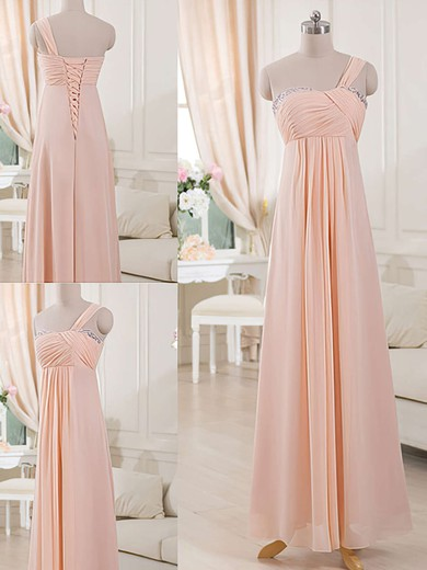 Amazing Pink Chiffon with Beading One Shoulder Sheath/Column Bridesmaid Dresses #PDS01012515