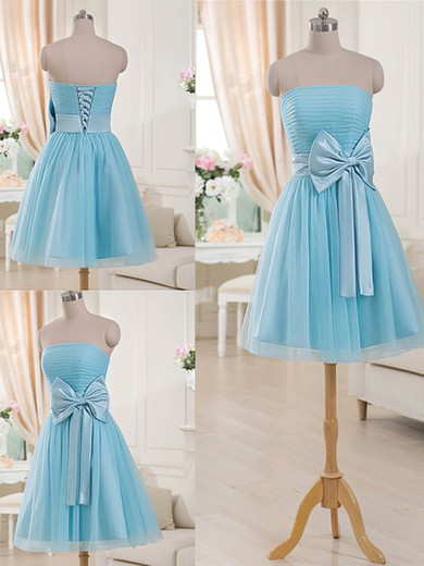 Unique Strapless Tulle with Bow Lace-up Short/Mini Blue Bridesmaid Dresses #PDS01012516