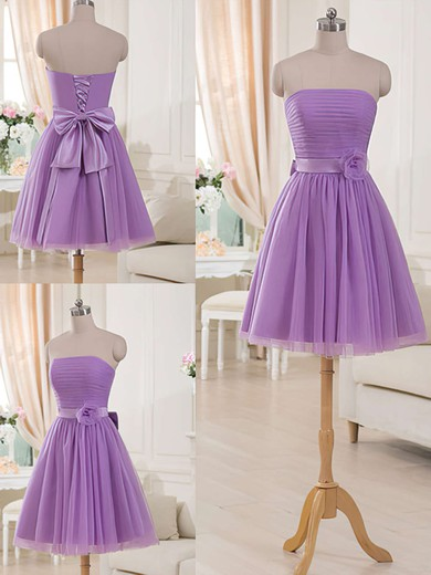 Lilac Tulle Sashes/Ribbons Simple Short/Mini Strapless Bridesmaid Dresses #PDS01012517