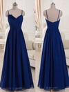 V-neck Royal Blue Chiffon with Spaghetti Straps Ruffles A-line Bridesmaid Dresses #PDS01012518
