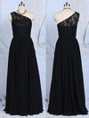 Floor-length Black Lace Chiffon Online One Shoulder A-line Bridesmaid Dresses #PDS01012520