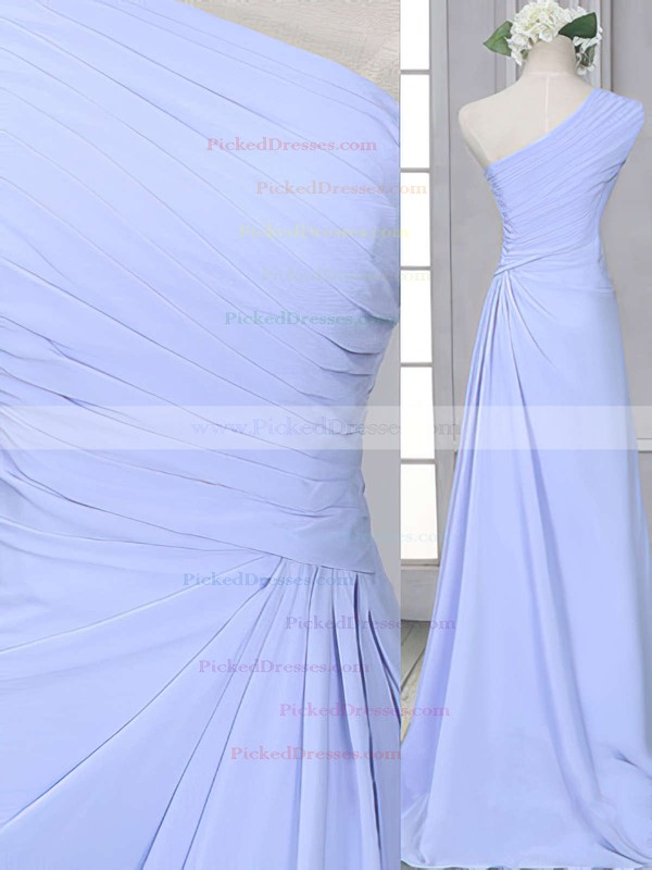 One Shoulder Lavender Chiffon Ruffles Modest Sheath/Column Bridesmaid Dress #PDS01012522