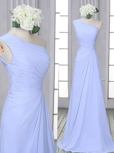 One Shoulder Lavender Chiffon Ruffles Modest Sheath/Column Bridesmaid Dress #PDS01012522