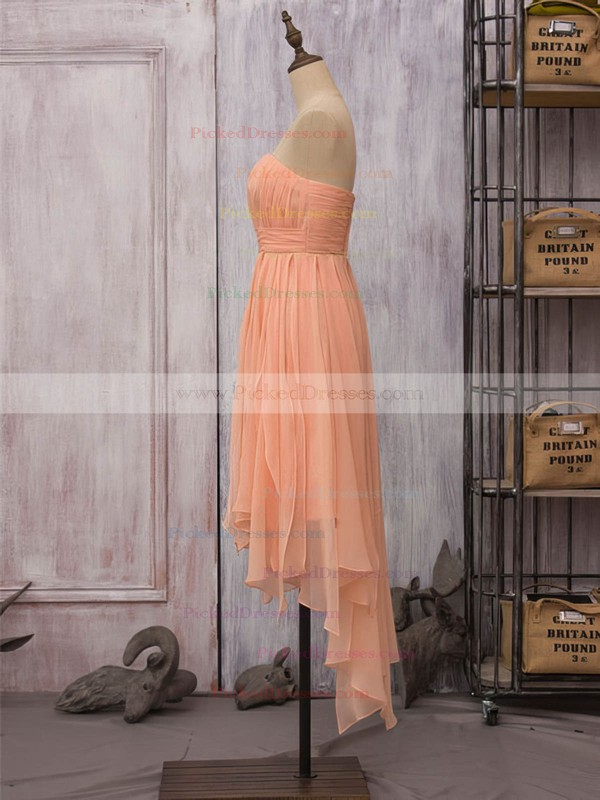 Strapless Inexpensive Orange Chiffon Ruffles High Low Sheath/Column Bridesmaid Dress #PDS01012523