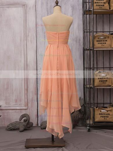 Strapless Inexpensive Orange Chiffon Ruffles High Low Sheath/Column Bridesmaid Dress #PDS01012523