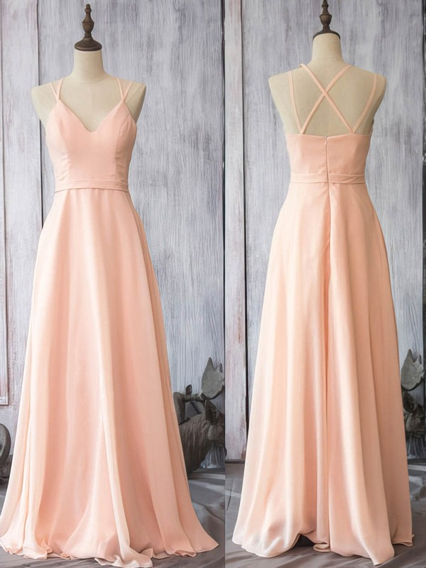 Pearl Pink Girls V-neck Chiffon with Spaghetti Straps Sheath/Column Bridesmaid Dress #PDS01012524