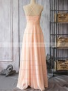 Pearl Pink Girls V-neck Chiffon with Spaghetti Straps Sheath/Column Bridesmaid Dress #PDS01012524