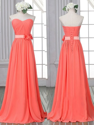 Discounted Sheath/Column Chiffon Flower(s) Lace-up Watermelon Sweetheart Bridesmaid Dress #PDS01012526