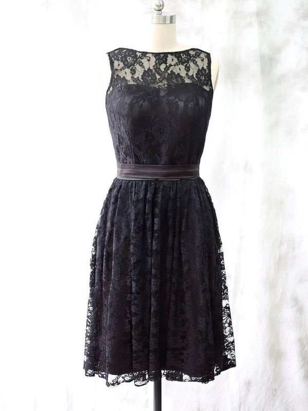 Knee-length Black Lace with Sashes/Ribbons Discount Scoop Neck Bridesmaid Dress #PDS01012527