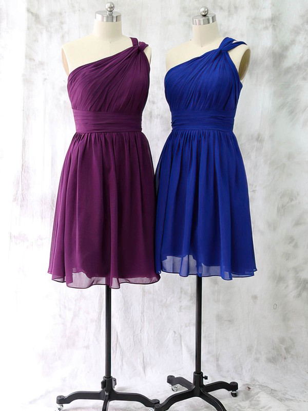 One Shoulder Royal Blue Chiffon Ruffles Short/Mini Different Bridesmaid Dress #PDS01012528