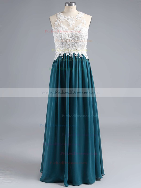 A-line Chiffon Tulle with Appliques Lace Scoop Neck Open Back Classy Bridesmaid Dress #PDS01012529