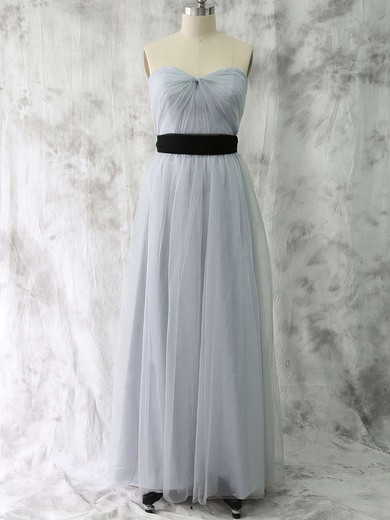 Cheap Sweetheart Light Slate Gray Tulle with Sashes/Ribbons A-line Bridesmaid Dress #PDS01012530