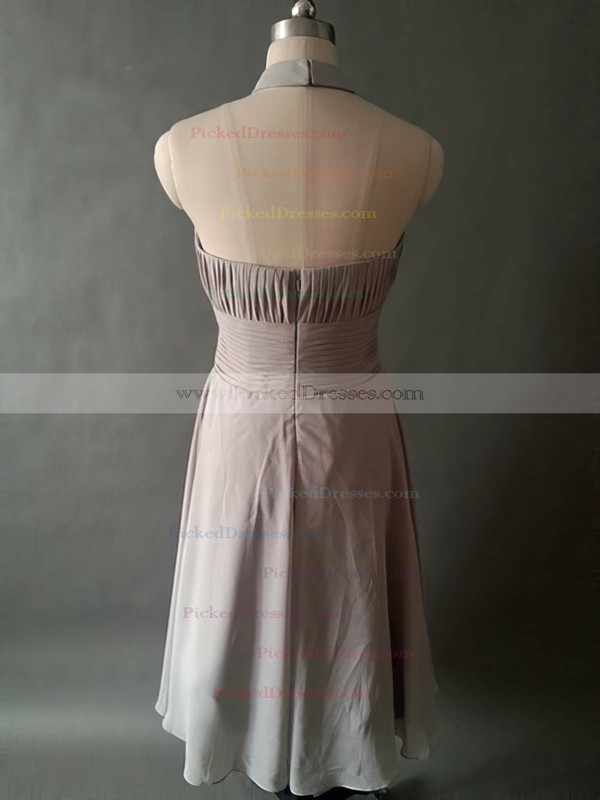Halter Knee-length Gray Chiffon with Pleats Casual Bridesmaid Dresses #PDS01012531
