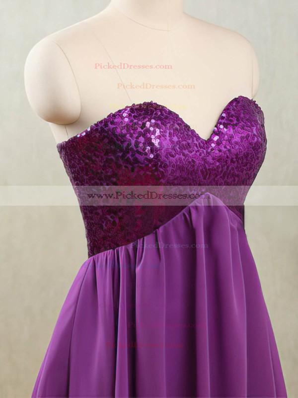 Best Purple Chiffon and Sequined Short/Mini Sweetheart Bridesmaid Dresses #PDS01012532