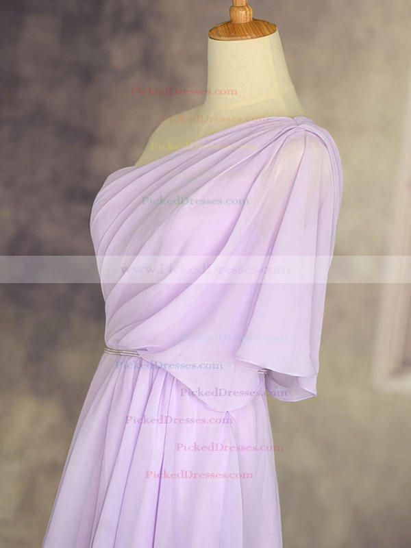 Affordable One Shoulder Chiffon Ruffles Short/Mini 1/2 Sleeve Bridesmaid Dresses #PDS01012533