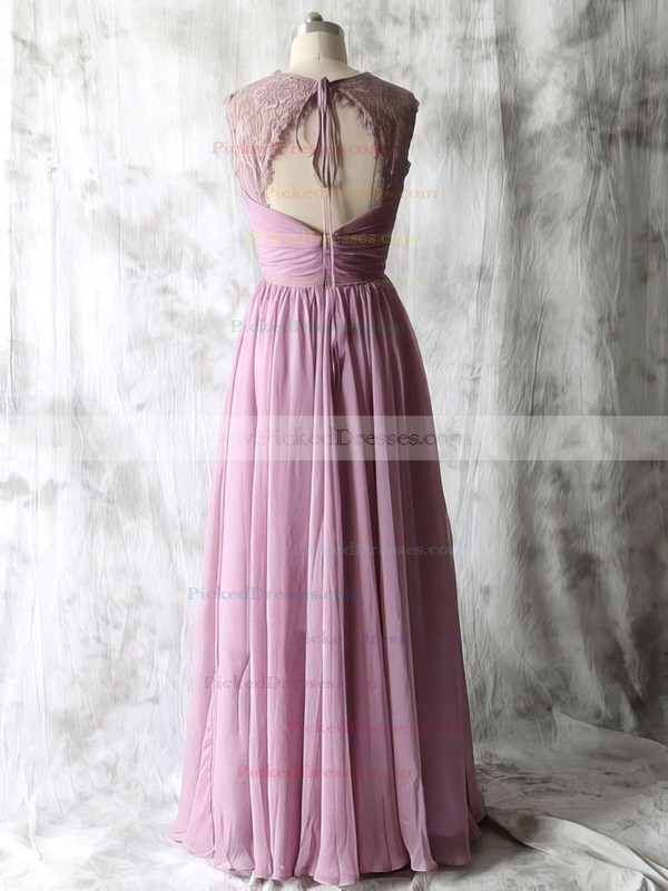 Latest Open Back Chiffon Lace V-neck Floor-length Bridesmaid Dresses #PDS01012534