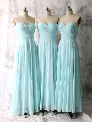 Hot Light Sky Blue Chiffon Ruffles A-line Sweetheart Bridesmaid Dresses #PDS01012535