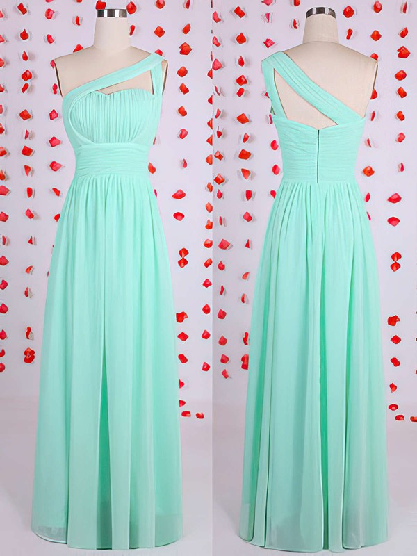 Floor-length Green Chiffon Sheath/Column Great One Shoulder Bridesmaid Dresses #PDS01012536