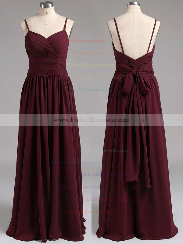 Fashion Sweetheart A-line Chiffon with Spaghetti Straps Open Back Bridesmaid Dresses #PDS01012539