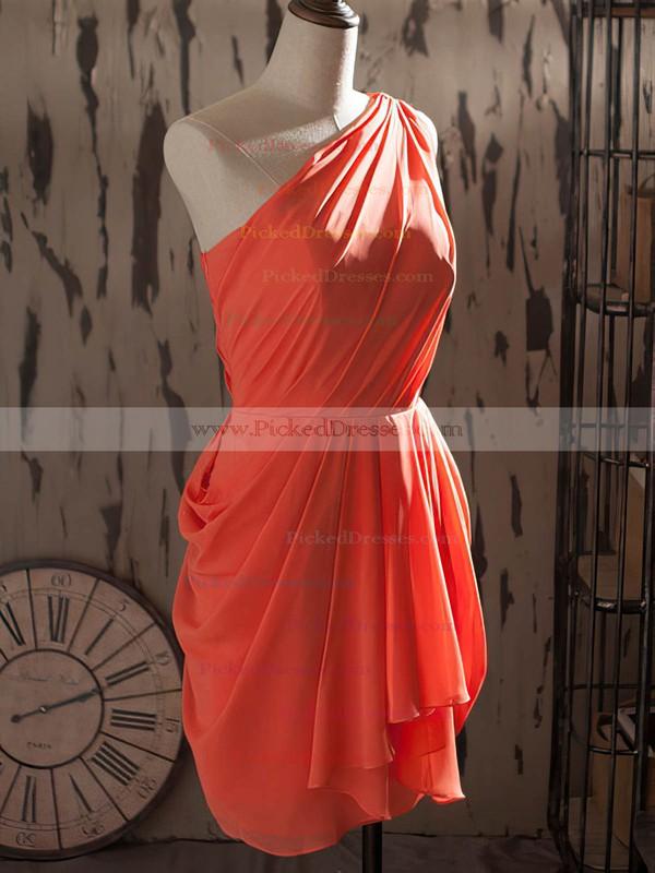 Famous One Shoulder Chiffon Ruffles Sheath/Column Watermelon Bridesmaid Dresses #PDS01012540