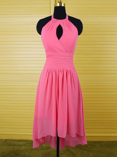 Halter Ruffles Chiffon Exclusive High Low Fuchsia Bridesmaid Dress #PDS01012541