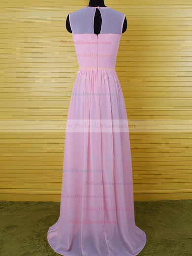 Floor-length Pearl Pink Chiffon Ruffles Sheath/Column Scoop Neck Bridesmaid Dress #PDS01012542