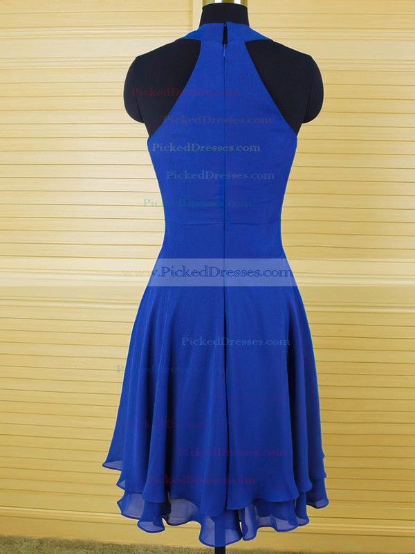 Coolest Scoop Neck Ruffles Chiffon Royal Blue Knee-length Bridesmaid Dress #PDS01012543