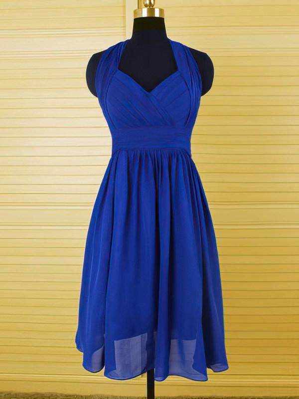 Boutique Halter Royal Blue Chiffon Ruffles Knee-length Bridesmaid Dress #PDS01012544