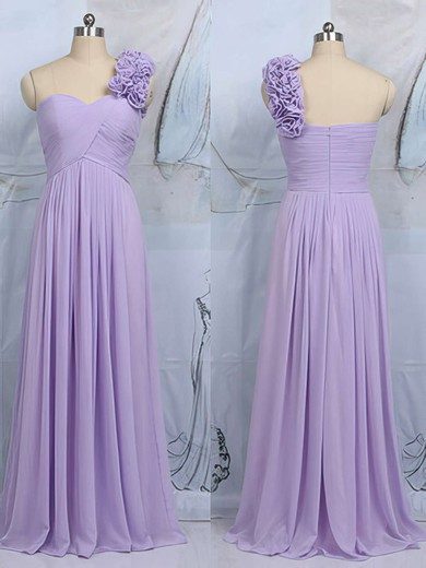 Amazing Lilac Chiffon Flower(s) One Shoulder Floor-length Bridesmaid Dress #PDS01012545
