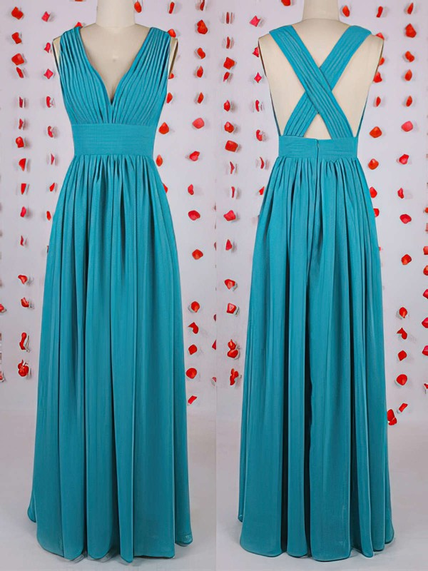 Online Blue Chiffon with Pleats Floor-length V-neck Bridesmaid Dress #PDS01012549