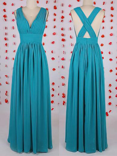 Online Blue Chiffon with Pleats Floor-length V-neck Bridesmaid Dress #PDS01012549