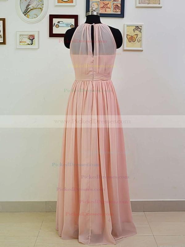 Girls Scoop Neck Ruffles Pink Chiffon A-line Bridesmaid Dresses #PDS01012551