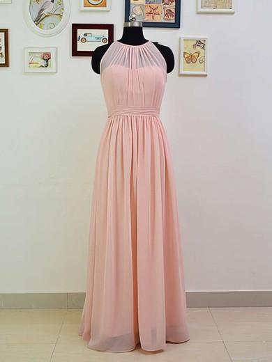 Girls Scoop Neck Ruffles Pink Chiffon A-line Bridesmaid Dresses #PDS01012551