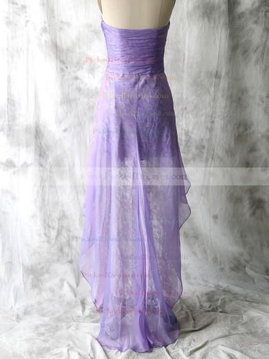 Elegant Lace Chiffon Sweetheart Sheath/Column Lavender Bridesmaid Dresses #PDS01012552