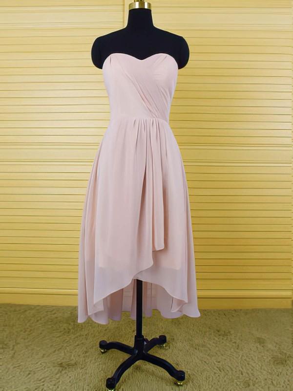 Sweetheart Pink Chiffon Discount Ruffles High Low Bridesmaid Dresses #PDS01012553