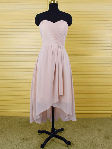 Sweetheart Pink Chiffon Discount Ruffles High Low Bridesmaid Dresses #PDS01012553