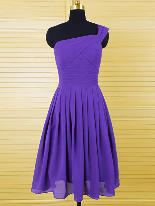 Different Chiffon Ruffles A-line Purple One Shoulder Bridesmaid Dresses #PDS01012554