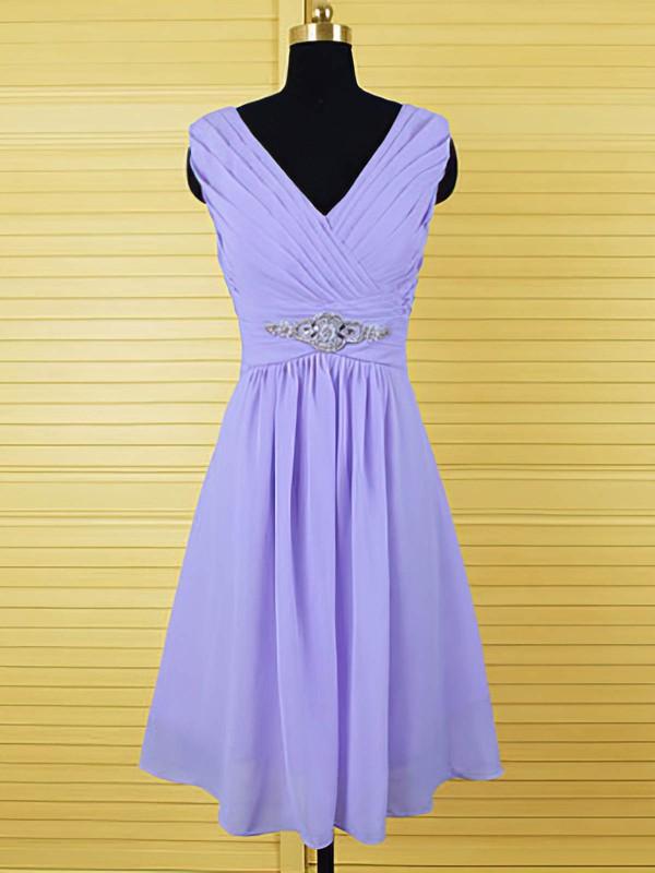 Lavender Designer Chiffon Crystal Detailing Knee-length Bridesmaid Dresses #PDS01012555