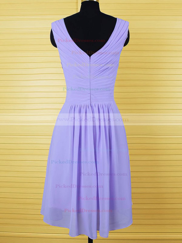 Lavender Designer Chiffon Crystal Detailing Knee-length Bridesmaid Dresses #PDS01012555