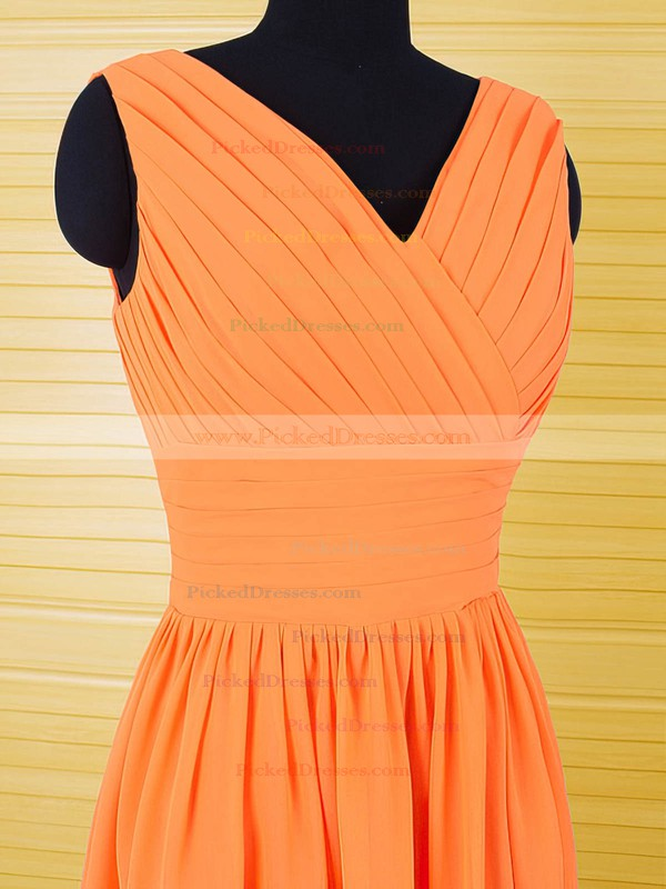 Classy Chiffon Ruffles Knee-length V-neck Orange Bridesmaid Dresses #PDS01012556