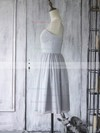 Light Slate Gray Chiffon Tulle with Appliques Lace Knee-length New Bridesmaid Dress #PDS01012560