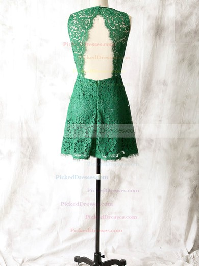Different Green Lace Sheath/Column Open Back Short/Mini Bridesmaid Dress #PDS01012561