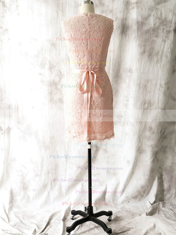 Perfect Knee-length with Sashes/Ribbons Sheath/Column Pink Lace Bridesmaid Dress #PDS01012562