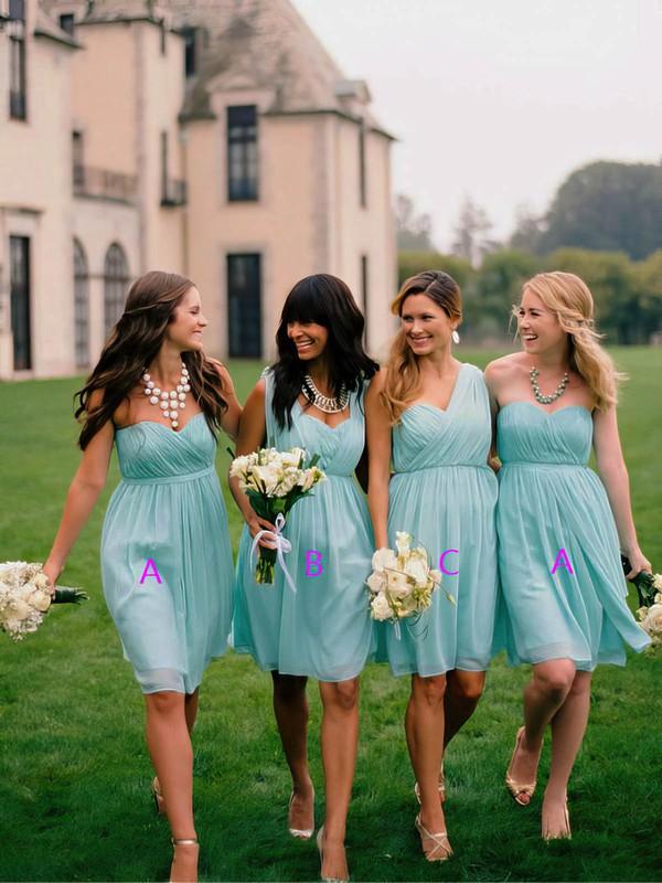Classy Light Sky Blue Chiffon Ruffles Sweetheart Short/Mini Bridesmaid Dress #PDS01012563