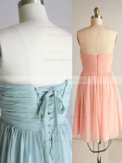Girls Short/Mini Chiffon Ruffles Lace-up Sweetheart Pink Bridesmaid Dress #PDS01012569